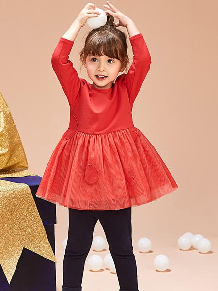 红蜻蜓童装品牌2019秋季新款韩版花边立领后背拉链长袖公主裙