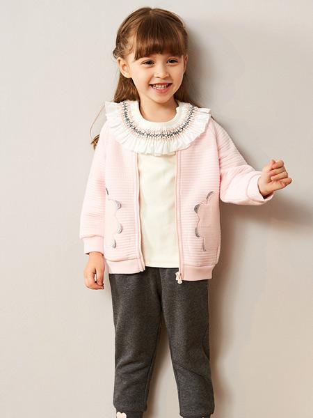 红蜻蜓童装品牌2019秋季新款花边领纯色外套