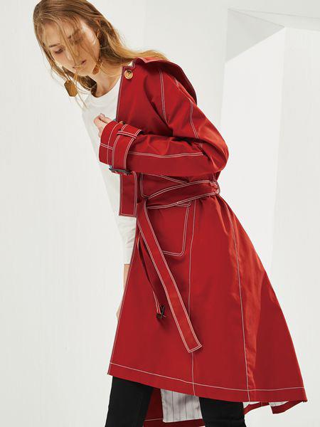 丽芮女装品牌2019秋季新款大红色风衣女过膝中长款系带收腰大衣外套