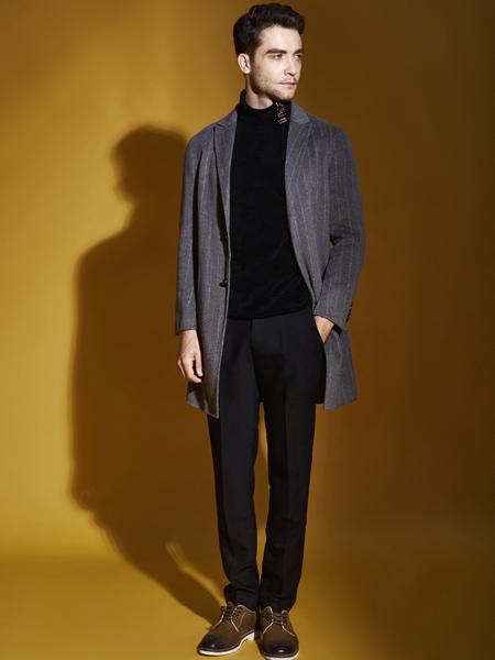 恩咖男装品牌2019秋季新款修身韩版休闲中长款大衣外套