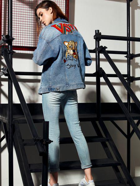 维斯提诺女装品牌2019秋季新款宽松韩版时尚港风休闲百搭牛仔外套