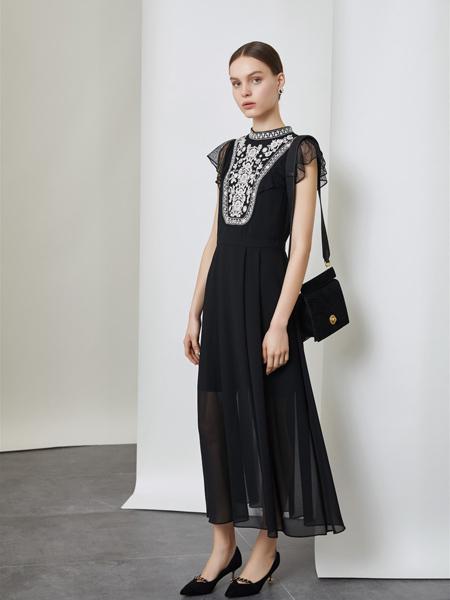 红凯贝尔女装品牌2019秋季新款时尚两件套通勤名媛风重工刺绣拼接蕾丝连衣裙