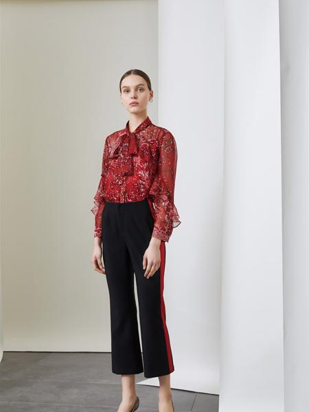 红凯贝尔女装品牌2019秋季新款系带小碎花荷叶边袖小清新雪纺衫