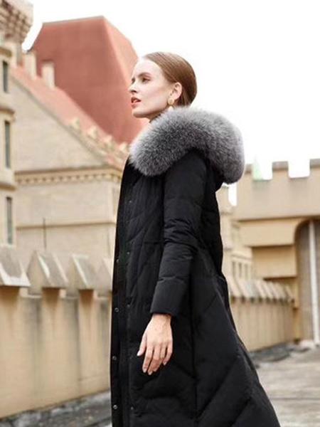 格悦女装品牌2019秋冬新款韩版时尚宽松休闲中长款羽绒服外套