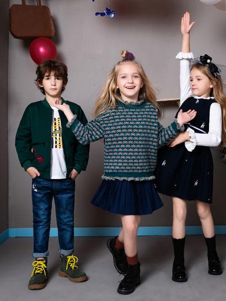 铅笔俱乐部童装品牌2019秋季韩版新款 复古花朵高领毛衣