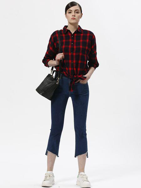 欧伊芮诗ZOEIRIS女装品牌2019秋季新款韩版宽松大码格子衬衫