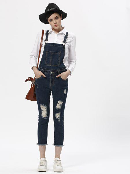 欧伊芮诗ZOEIRIS女装品牌2019秋季新款薄款紧身牛仔裤高腰收腹显瘦弹力松紧腰背带裤