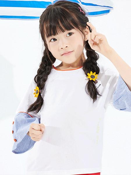 小红豆童装品牌2019春夏新款印花舒适宽松棉质短袖上衣