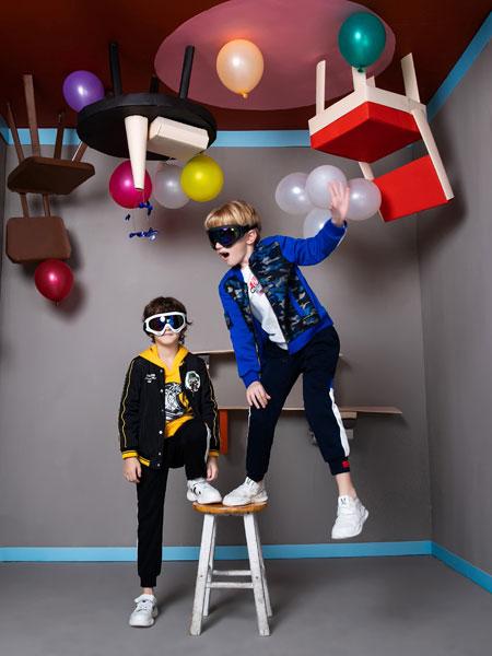 铅笔俱乐部童装品牌2019秋季新款潮范中童拼色两件套