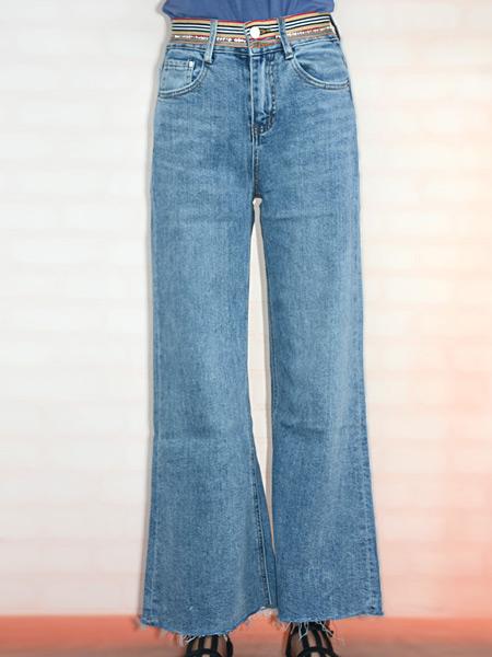 美酷思女装品牌2019春夏新款高腰垂感直筒牛仔裤浅色港味阔腿长裤