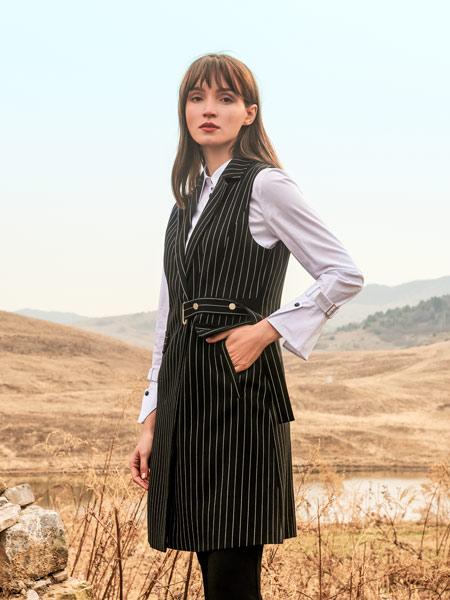 浩洋���H女�b品牌2019秋冬新款修身翻�I中�L款西�b�l�y�@瘦�R甲外套