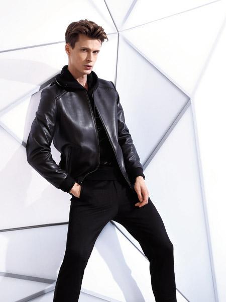 啄木鸟男装品牌2019秋季新款翻领拉链长袖黑色韩版帅气外套短款皮衣