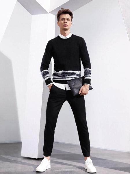 啄木鸟男装品牌2019秋季新款拼色圆领套头宽松长袖时尚针织衫