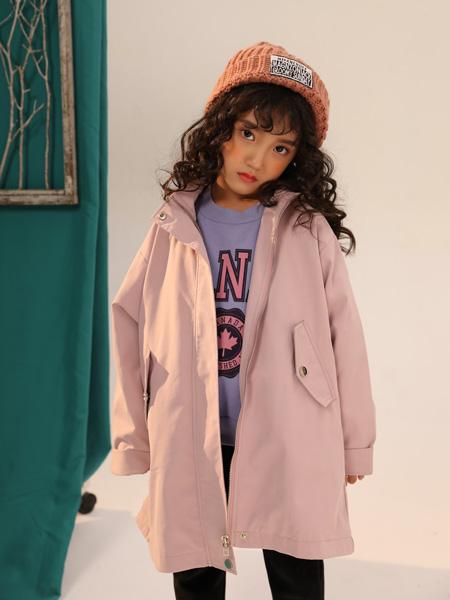 叽叽哇哇童装品牌2019秋季新款韩版洋气中长款连帽风衣外套