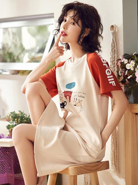 体会内衣品牌2019春夏新款舒适薄棉可外穿休闲短袖中短裙韩版卡通甜美家居服