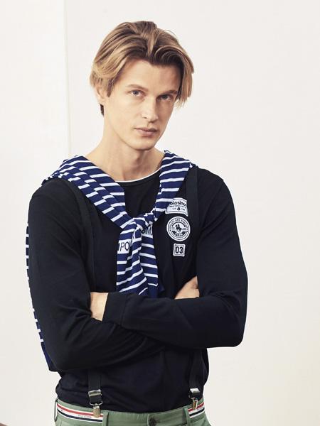 保罗·西蒙男装品牌2019秋季新款韩版宽松百搭休闲简约长袖T恤