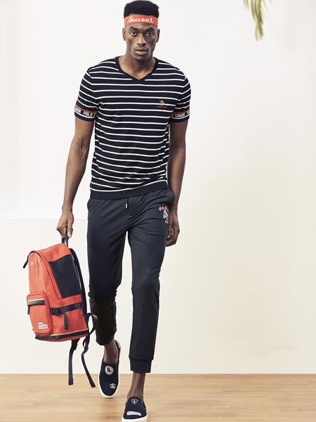 保罗·西蒙男装品牌2019秋季新款V领修身条纹舒适百搭短袖T恤