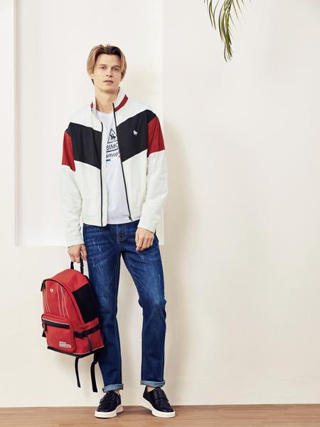 保罗·西蒙男装品牌2019秋季新款复古拼接运动休闲外套夹克