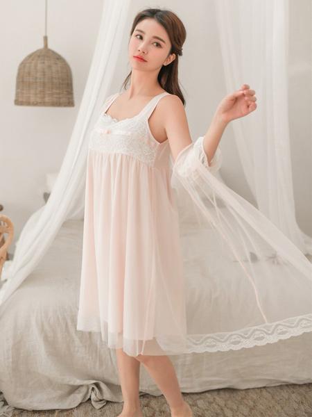 SEEIFEY茜菲内衣品牌2019春夏新款甜美少女睡裙公主风吊带家居服套装性感蕾丝睡衣