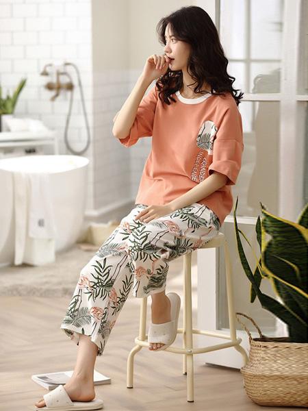 SEEIFEY茜菲内衣品牌2019春夏新款韩版休闲薄款纯棉短袖七分裤两件套装