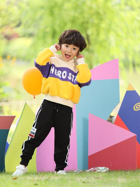小猪宾果童装品牌2019秋季新款洋气时髦休闲运动套装