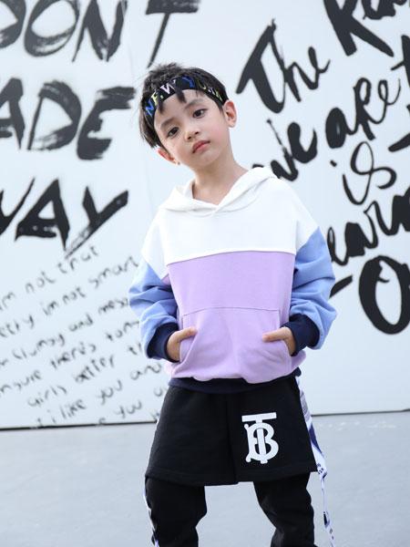 拉斐贝贝童装品牌2019秋季新款日系宽松拼接撞色个性卫衣