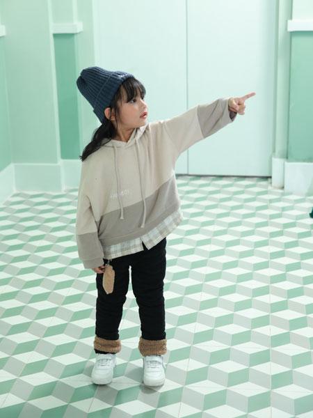 卡比优童装品牌2019秋季韩版百搭套头连帽外套抽绳收腰短款上衣