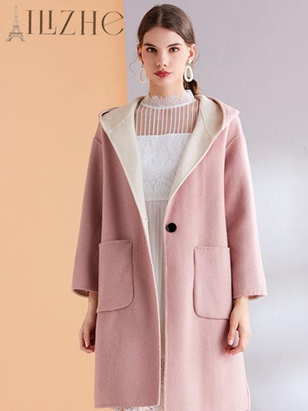 艾丽哲女装品牌2019秋冬落肩袖口袋圆领长款羊毛呢外套
