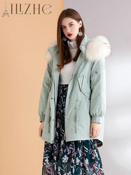 艾丽哲女装品牌2019秋冬抽绳毛领保暖连帽羽绒服外套