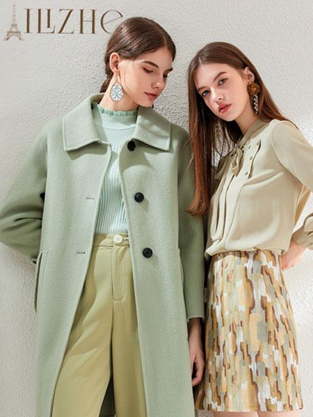 艾丽哲女装品牌2019秋冬修身牛油果绿双面毛呢外套