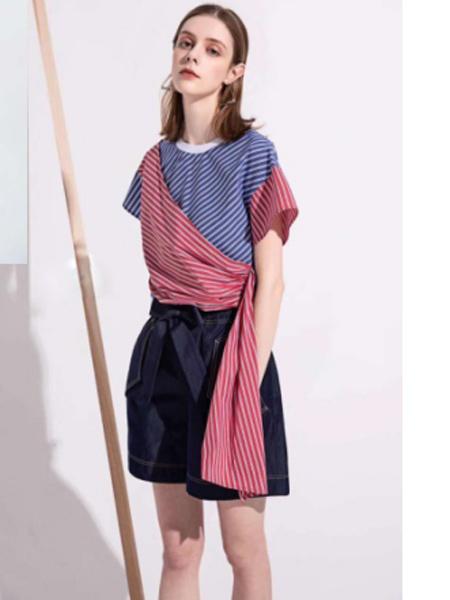YU ONE女装品牌2019春夏新款拼接撞色条纹t恤
