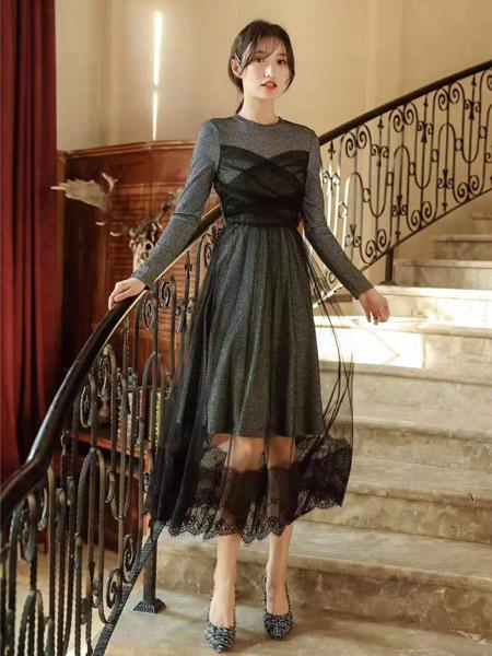 M+女装品牌2019秋季新款网纱拼接假两件气质高腰显瘦连衣裙潮