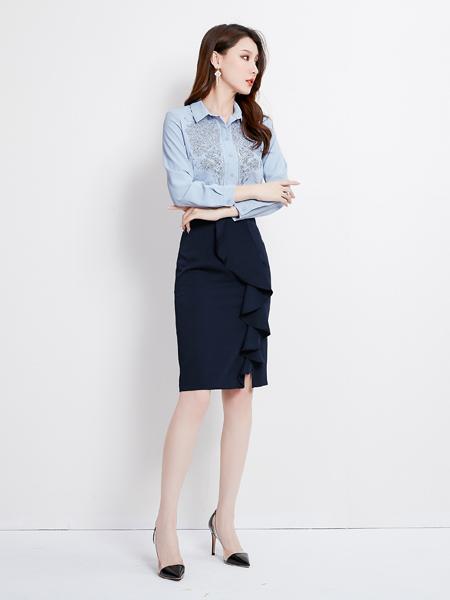 爱依莲女装品牌2019秋季新款POLO领修身衬衣蓝色长袖打底衫绣花上衣纯棉衬衫