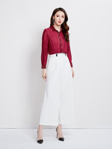 爱依莲女装品牌2019秋季新款韩版百搭上衣气质修身红衬衫