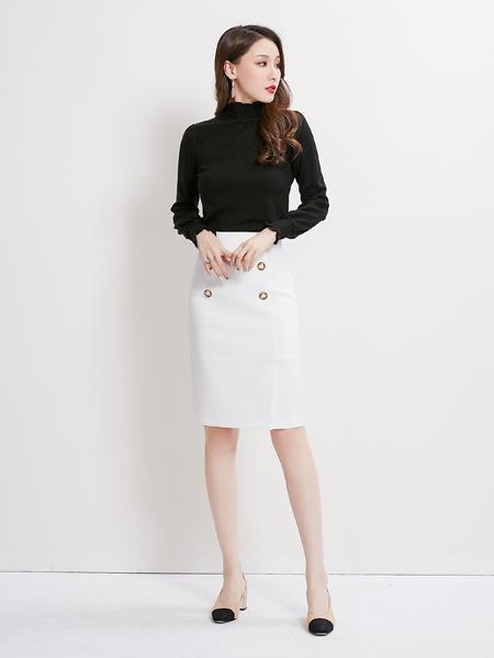 爱依莲女装品牌2019秋季新款时尚气质纯色上衣+一步显瘦半身裙套装