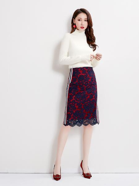 爱依莲女装品牌2019秋季新款韩版百搭气质蕾丝拼色中长款半身裙