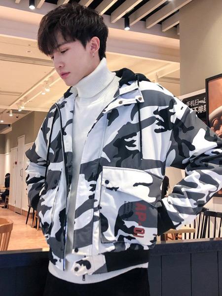 耐彪NAIBIAO男装品牌2019秋冬新款韩版潮流帅气休闲薄款连帽迷彩外套