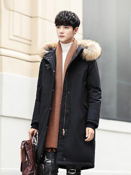 耐彪NAIBIAO男装品牌2019秋冬新款韩版宽松中长款大毛领连帽外套