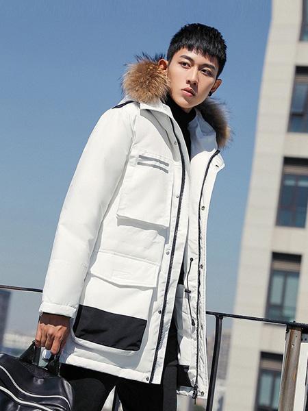耐彪男装品牌2019秋冬新款连帽时尚羽绒棉衣中长款羽绒服外套