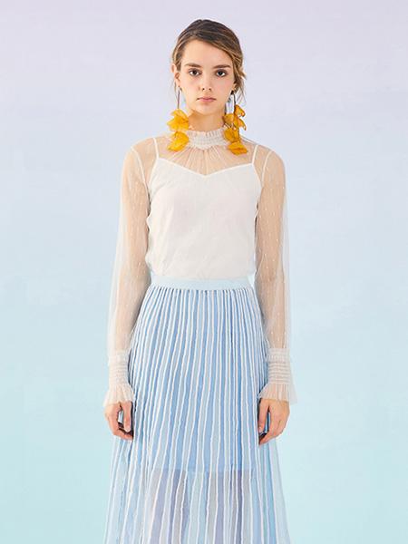 MissLace女装品牌2019秋季新款韩版喇叭袖蕾丝衫立领网纱打底上衣时尚百搭超仙
