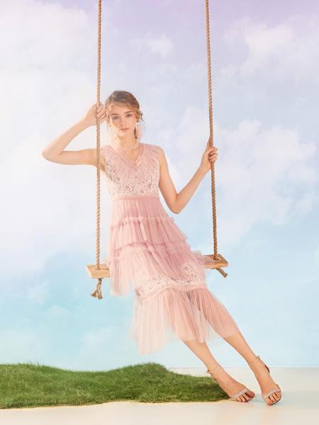 MissLace女装品牌2019秋季新款收腰气质无袖蕾丝边拼接网纱淑女连衣裙