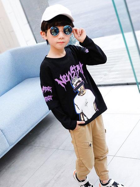 左西童装品牌2019春夏洋气休闲儿童T恤长袖圆领潮流薄款