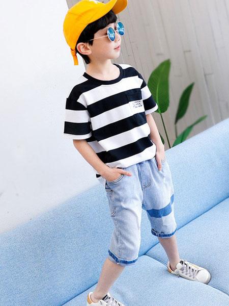左西童装品牌2019春夏男童条纹短袖T恤韩版