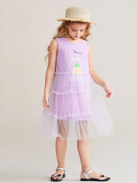 笛莎童装品牌2019春夏新款儿童女孩背心长裙网纱