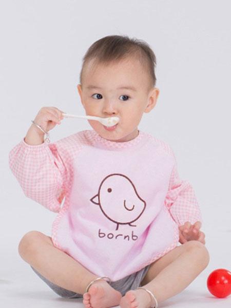 贝贝怡童装品牌2019春季卡通儿童防水反穿衣长袖围兜