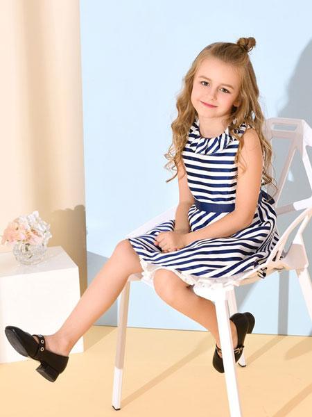 诺贝达童装品牌2019春夏女童针织条纹休闲连衣裙