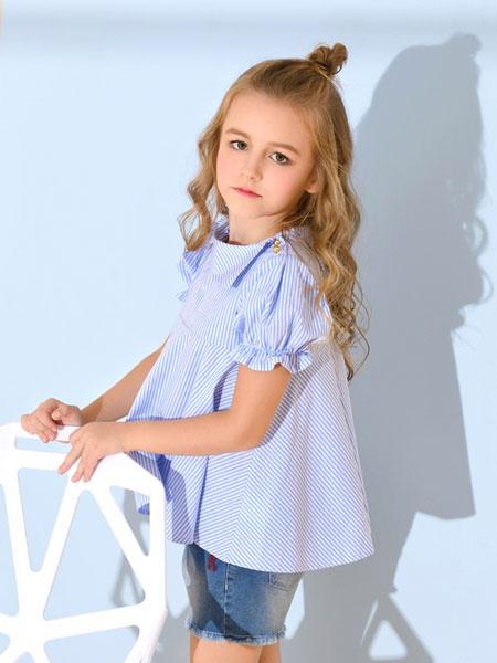 诺贝达童装品牌2019春夏中童条纹衬衫全棉薄款上衣