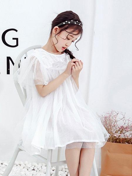 红黄蓝童装品牌2019春夏新款儿童长款公主蓬蓬纱连衣裙