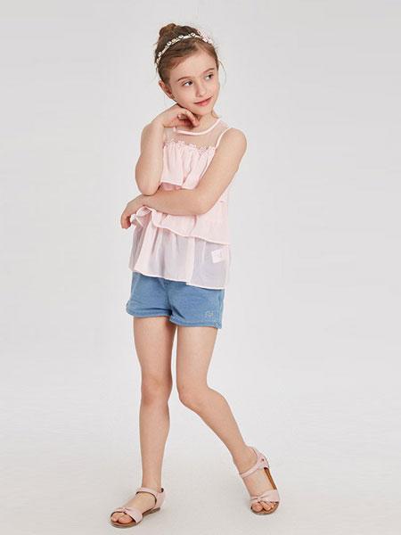 红黄蓝童装品牌2019春夏女童雪纺无袖上衣儿童淑女背心裙