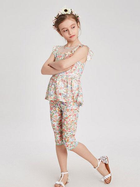 红黄蓝童装品牌2019春夏新款女童短袖T恤儿童碎花雪纺圆领上衣